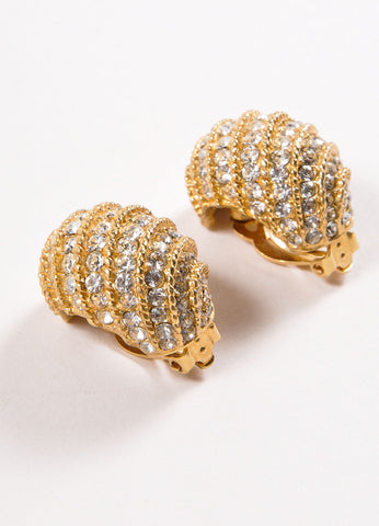 Ciner Gold Toned Cable Rhinestone Embellished Earrings Sideview