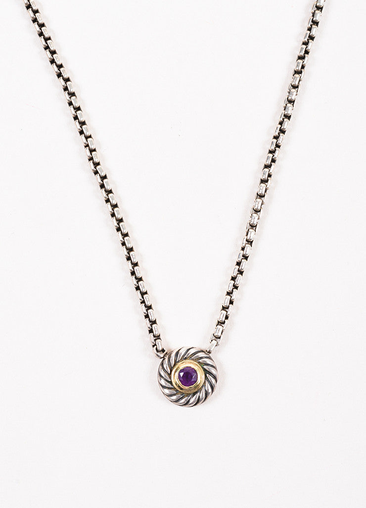 "David Yurman 14K Gold, Sterling Silver, and Amethyst ""Color Classic"" Pendant Necklace Detail"