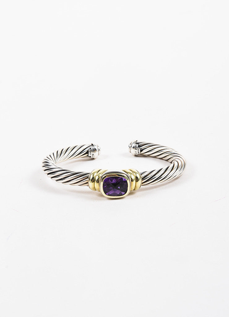 "David Yurman 14K Yellow Gold, Sterling Silver, and Amethyst ""Noblesse"" Cable Bracelet Frontview"