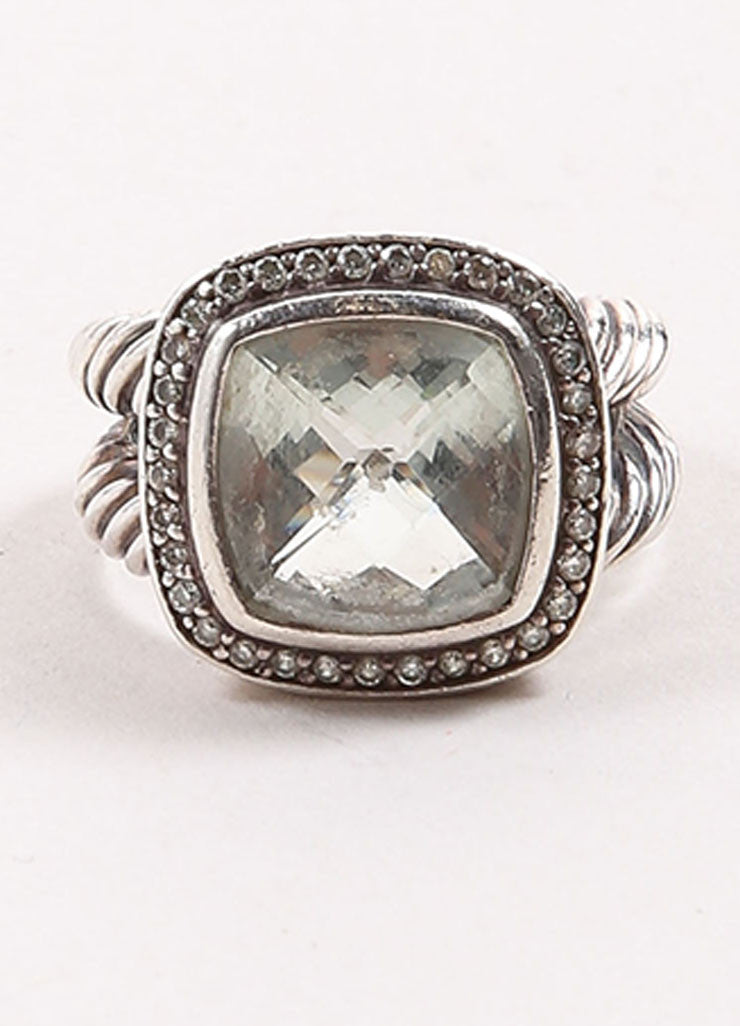 "David Yurman Sterling Silver, Prasiolite, and Pave Diamond Rope ""Albion"" Ring Frontview"
