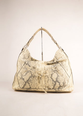 Diego Rocha Cream and Black Snakeskin Oversized Shoulder Tote Bag Frontview