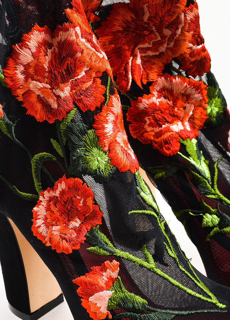 Dolce & Gabbana Black and Red Mesh Rose Suede Heel Sock Booties Detail
