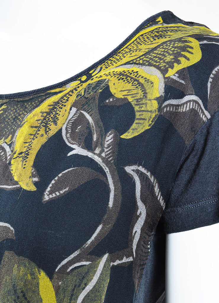 Dries van Noten Black and Yellow Cotton and Silk Floral Print Short Sleeve T-Shirt Detail