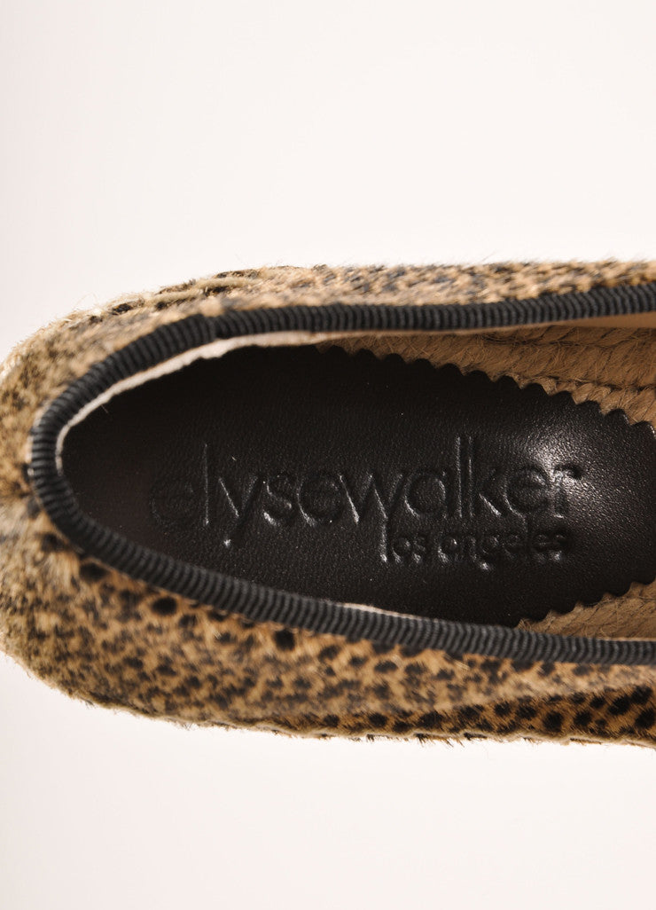 Elyse Walker New In Box Tan and Black Leopard Print Pony Hair Espadrille Flats Brand
