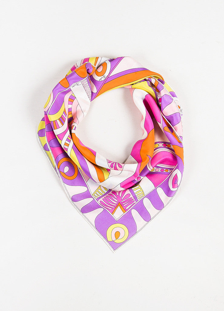 Emilio Pucci Multicolor Silk Crepe Printed Large Square Scarf Frontview