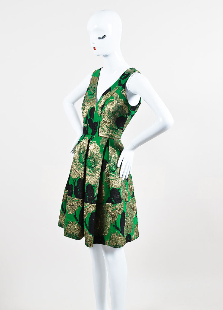 "Green, Black, and Gold Erdem Sleeveless Pleated ""Fabienne"" Dress Sideview"