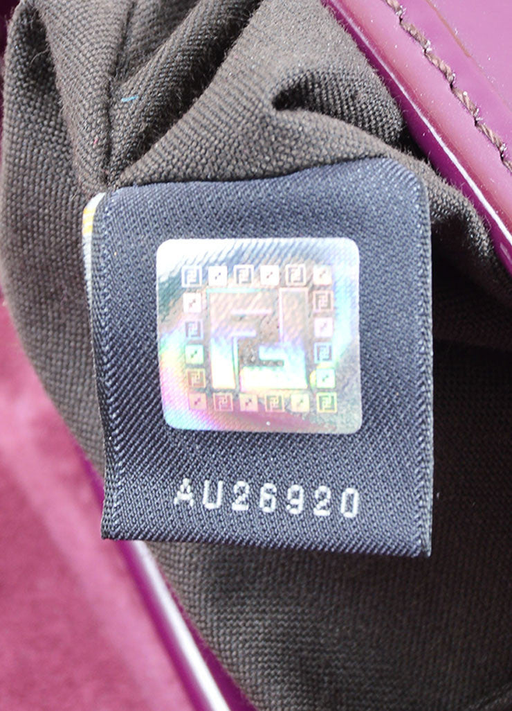 "Fendi Purple Patent Leather ""B"" Double Buckle Flap Bag Hologram"