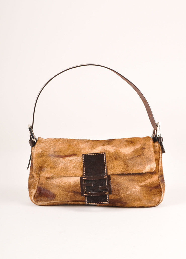 Fendi Brown Leather and Fur Baguette Bag Frontview