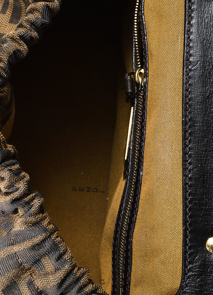"Fendi ""Tobacco"" Brown Canvas Leather 'FF' Monogram ""Zucca Magic"" Satchel Bag interior"