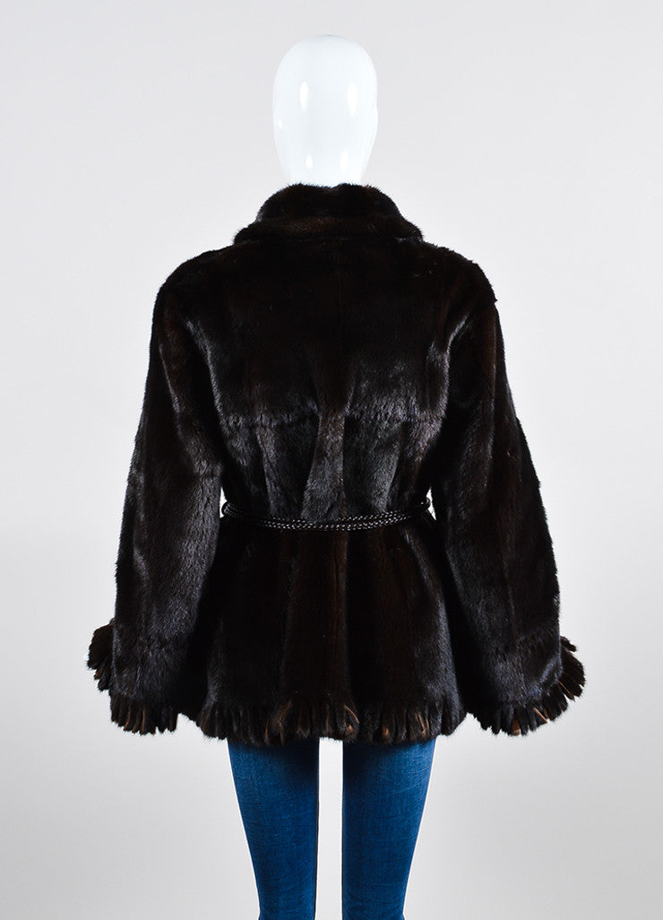 Giuliana Teso Brown Mink Fur Suede Fringe Belted Reversible Coat Backview