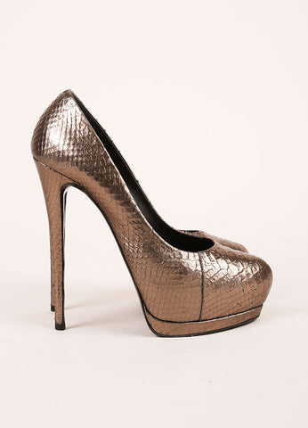 "Giuseppe Zanotti Metallic Taupe Snakeskin Leather ""Eva"" Platform Pumps Sideview"