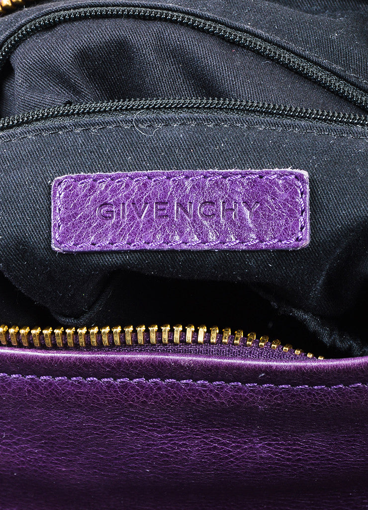 "Purple Leather Gold Toned Zip Givenchy ""Medium Pandora"" Messenger Bag Brand"