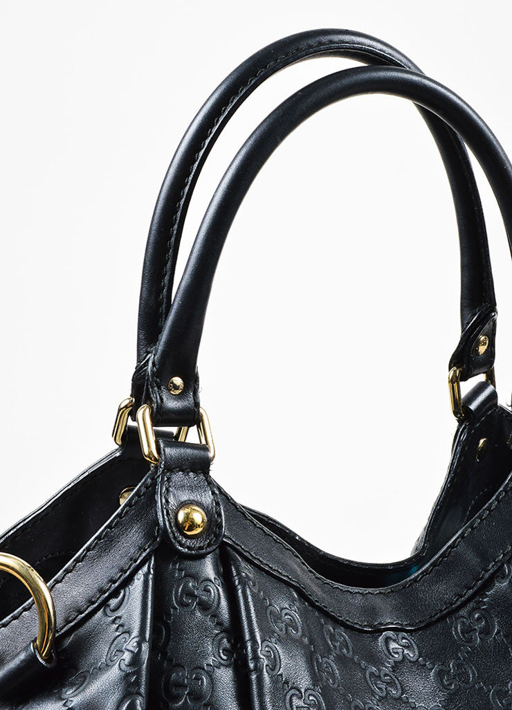 "Gucci Black Leather Guccissima Large ""Sukey"" Tote Bag Detail 2"