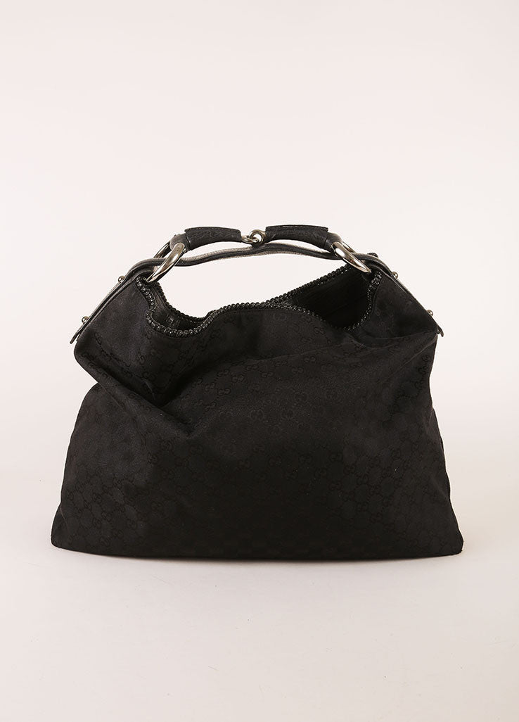 Gucci Black Monogram Canvas and Leather Oversized Bit Buckle Hobo Shoulder Bag Frontview