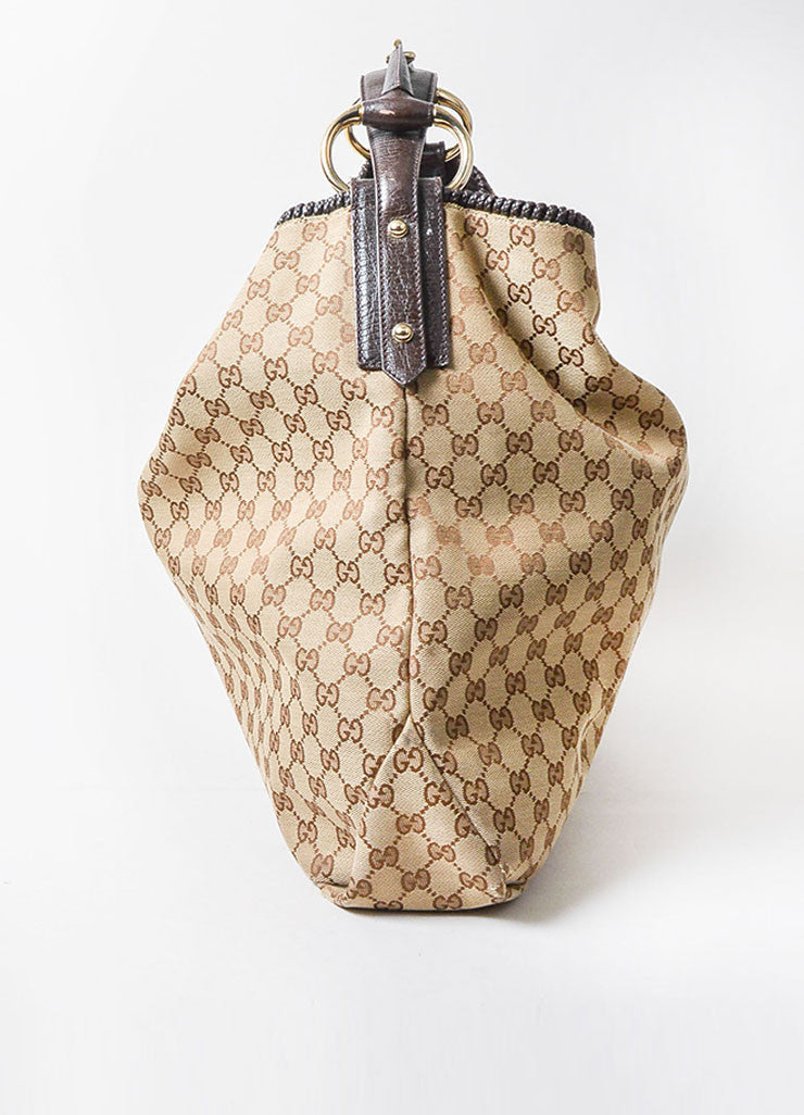 Gucci Brown Monogram Canvas Large Horsebit Hobo Bag Sideview