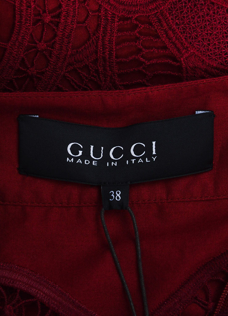 Cranberry Red Gucci Crotcheted Long Sleeve Laceup Dress Brand