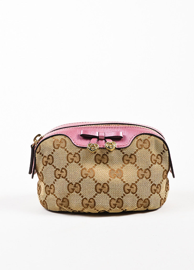 Gucci Tan, Brown, and Pink Canvas 'GG' Metallic Bow Heart Charm Zip Pouch Frontview