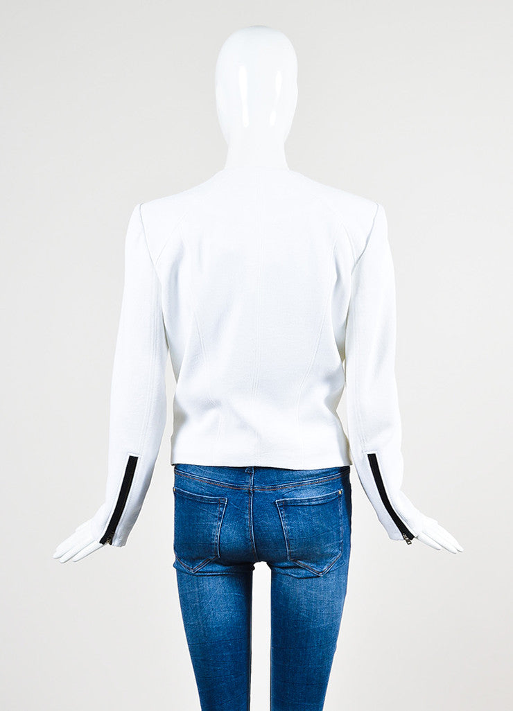 "Helmut Lang White and Black Crepe Asymmetrical ""Sugar"" Jacket Backview"