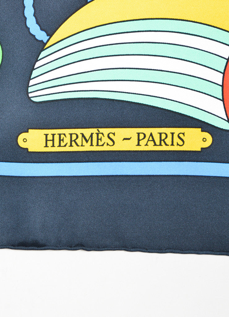 "Multicolor Hermes Silk Printed ""Thalassa"" Square Scarf Brand"