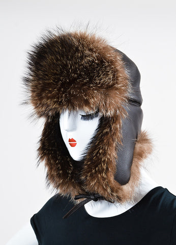 Brown Hermes Leather and Raccoon Fur Trapper Hat  Sideview
