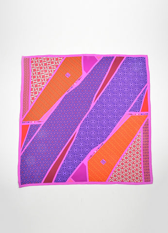 "Purple, Pink, and Red Hermes Silk Chain Print ""Carre en Cravates"" Scarf Frontview 2"
