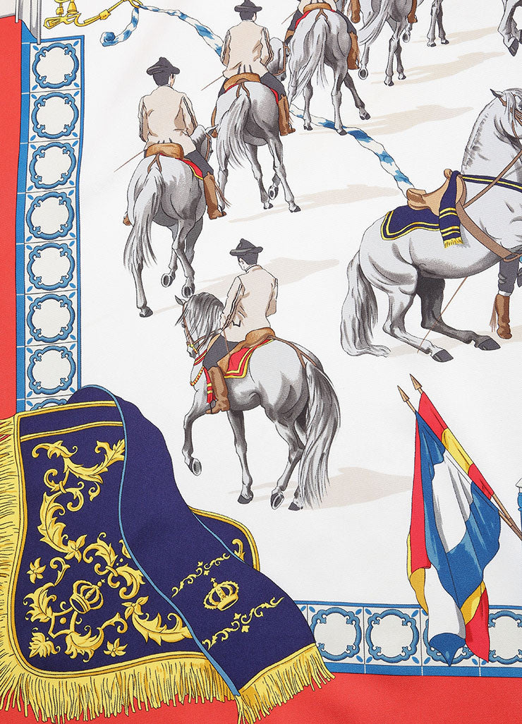 Hermes Multicolor Silk Horse Equestrian Print Scarf Detail