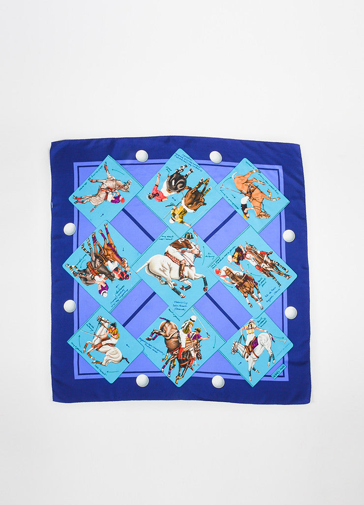 "Hermes Teal and Purple Silk ""Le Monde du Polo"" Square Scarf Frontview 2"