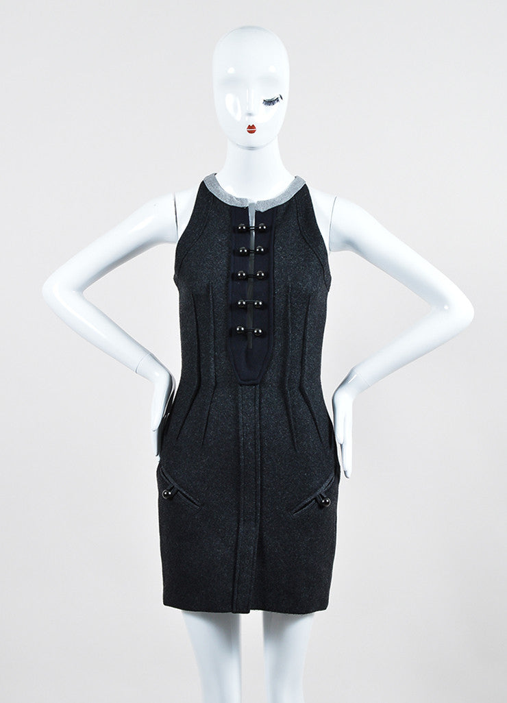 "Isabel Marant Dark Grey Brandebourg Flannel Sleeveless ""Kierra"" Dress Frontview"