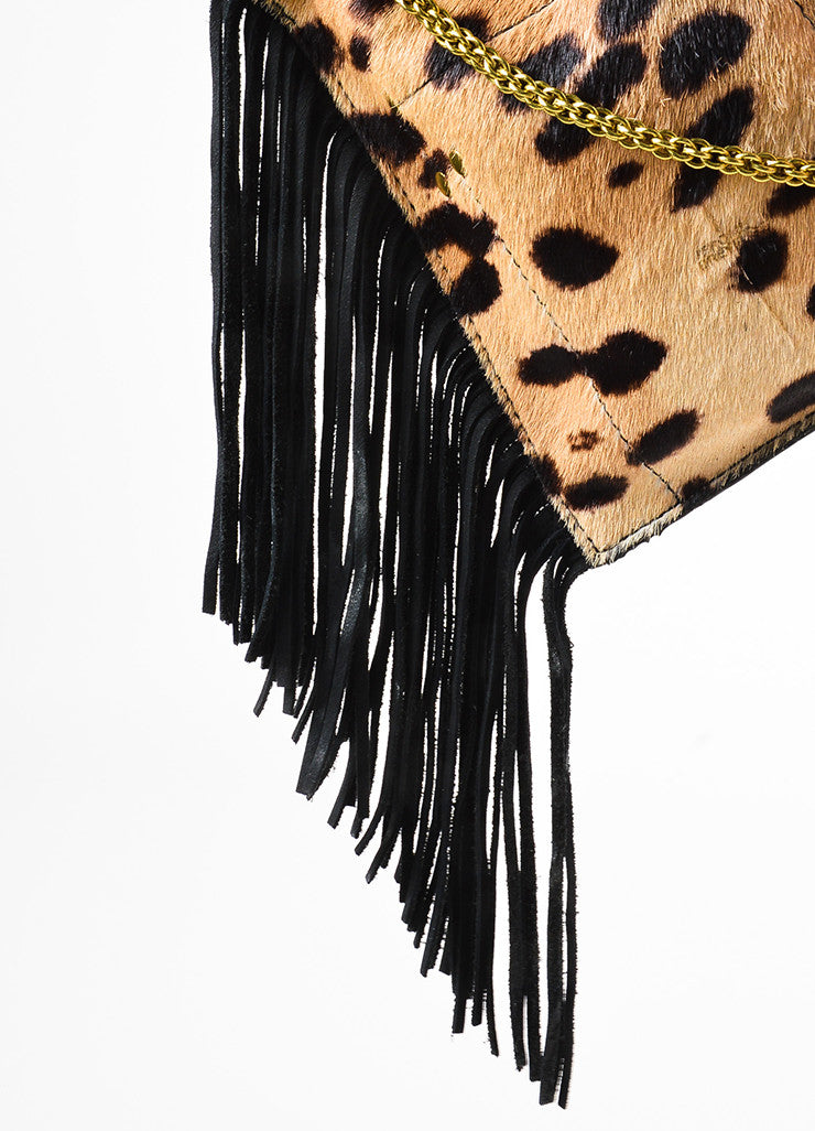 Jerome Dreyfuss Tan and Black Pony Hair Cheetah Print Suede Fringe Pouch Bag