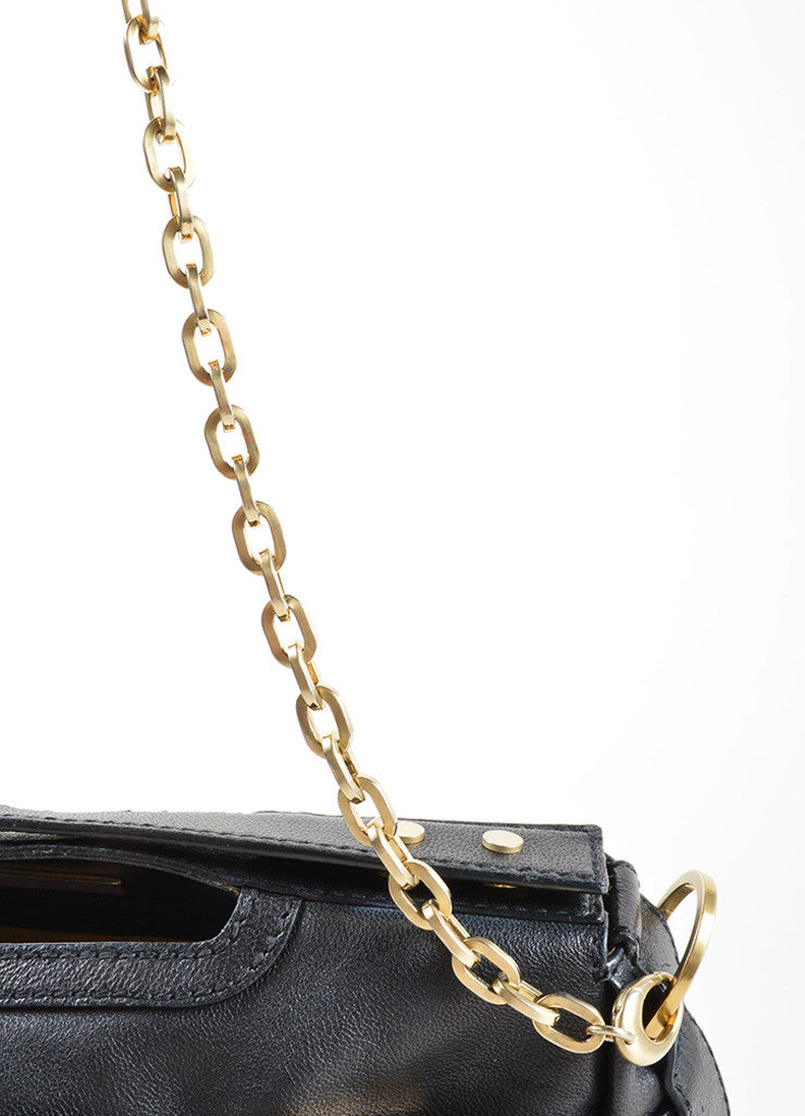 "Jimmy Choo Black Leather Chain Strap ""Thalma"" Shoulder Bag Detail 2"