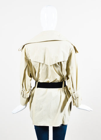 KaufmanFranco Khaki Beige Wrap Belted Short Trench Coat Backview