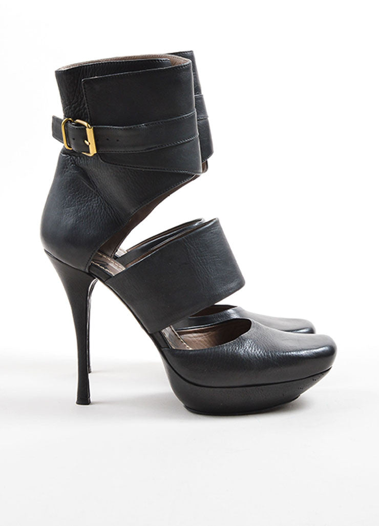 Lanvin Black Leather Cut Out Buckle Strap Ankle Platform Heeled Booties Sideview