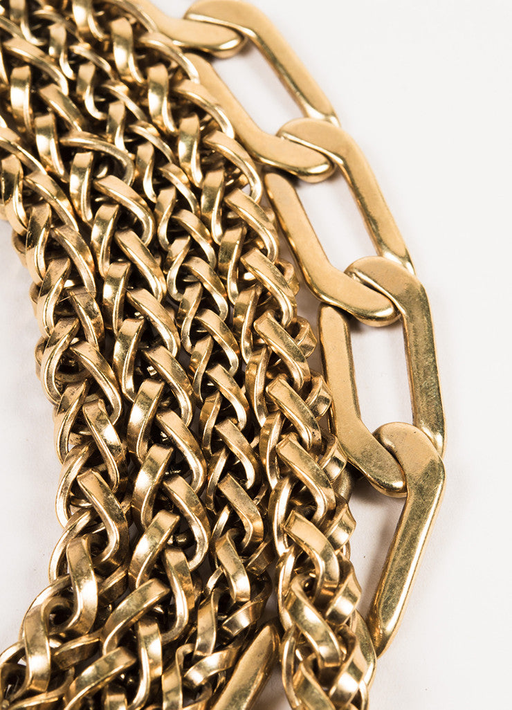 Lanvin Gold Toned Metal Multi Strand Chain Crystal Collar Necklace Detail