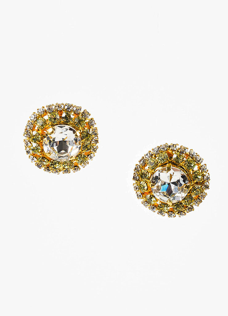 Lawrence Vrba Gold Toned, Clear, and Green Rhinestone Circular Clip-On Earrings Frontview