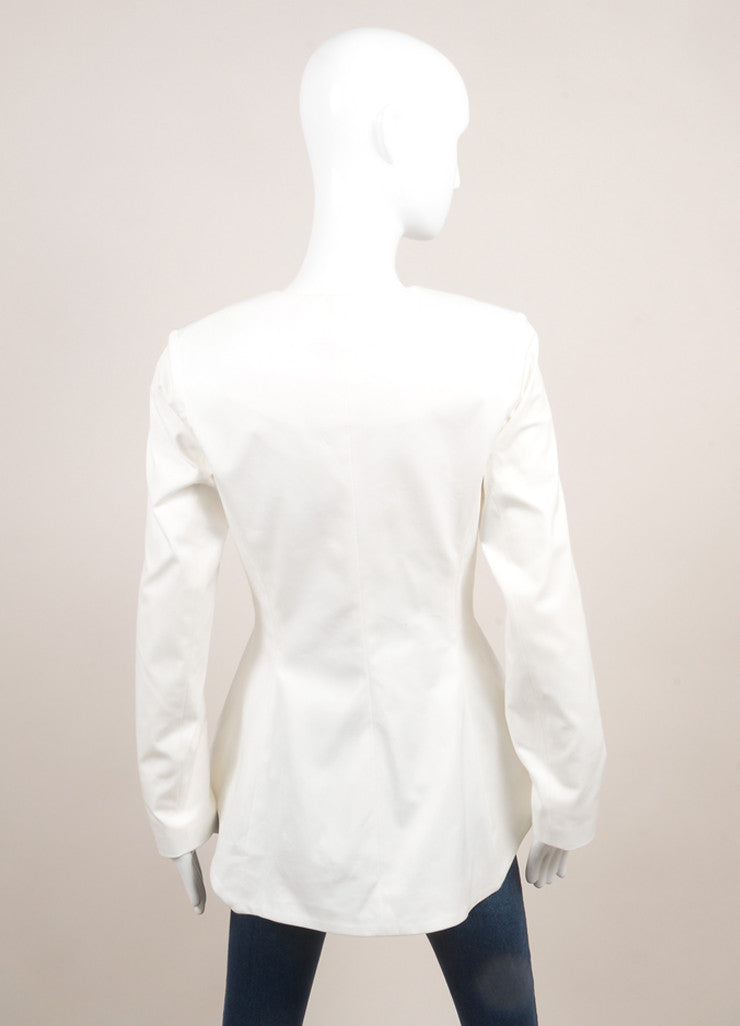 Lela Rose New With Tags White Cotton Peplum Collarless Blazer Backview