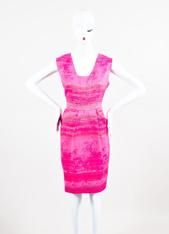 Neon Pink and Metallic Gold Lela Rose Cotton Blend Sleeveless Sheath Dress Frontview