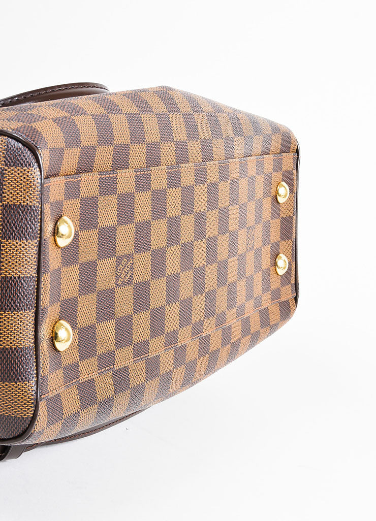 "Brown Louis Vuitton Coated Canvas and Leather ""Damier Trevi PM"" Satchel Bag Bottom View"
