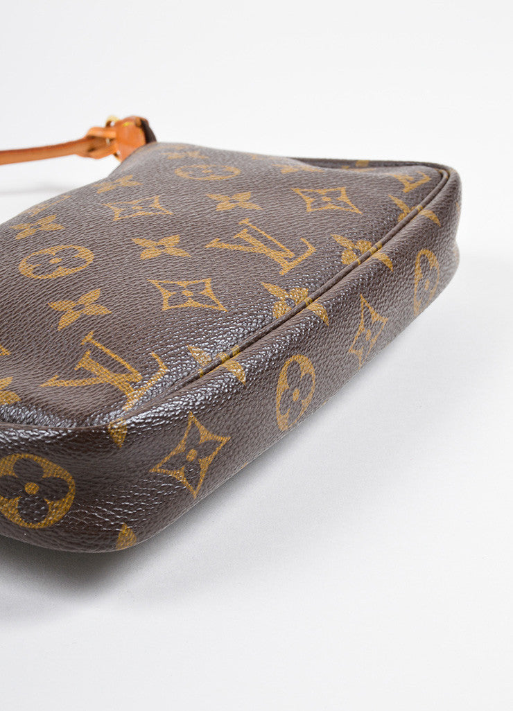 "Louis Vuitton Brown Coated Canvas Leather Trim Monogram ""Pochette NM"" Bag Bottom View"