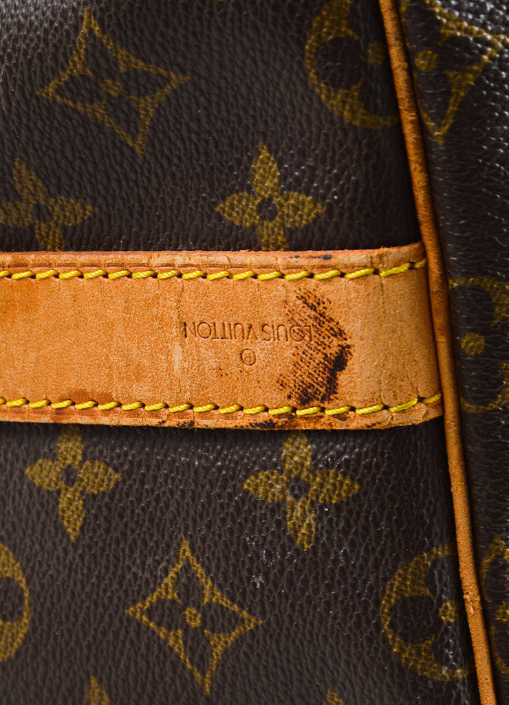 "Louis Vuitton Brown Canvas and Leather Monogram ""Keepall 55 Bandouliere"" Bag Detail 3"