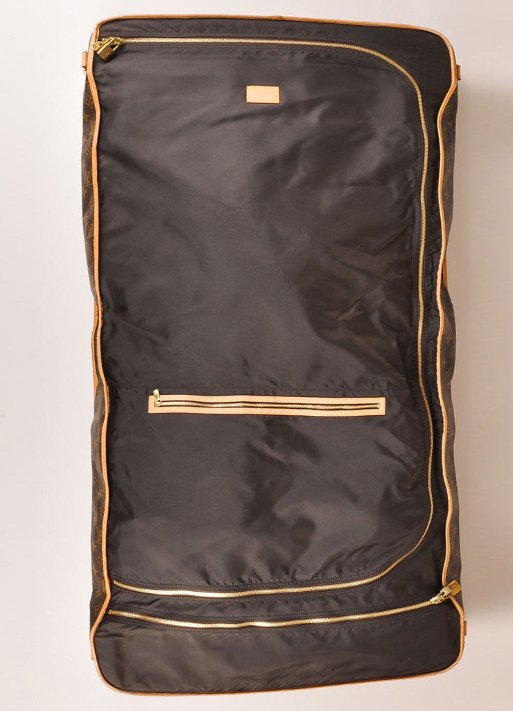 Louis Vuitton Brown and Tan Monogram Coated Canvas Garment Bag Interior