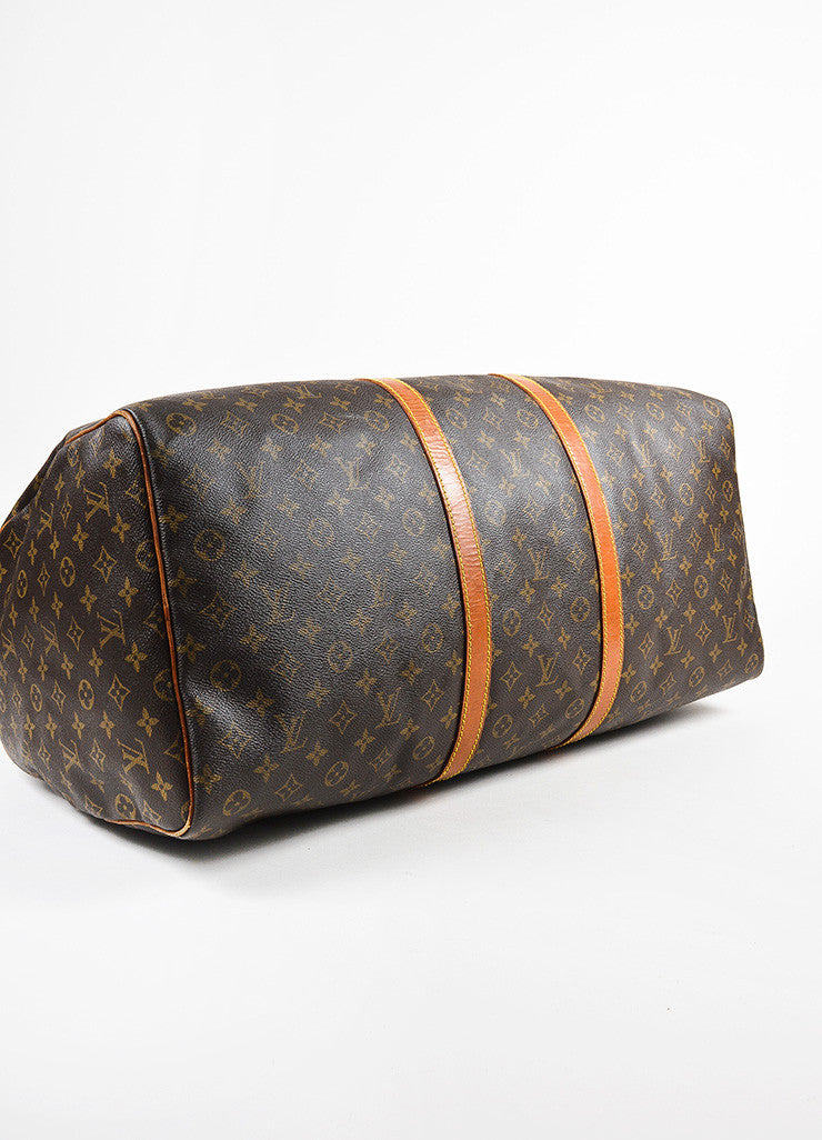 "Louis Vuitton Brown and Tan Monogram Leather ""Keepall 60"" Bag Bottom View"
