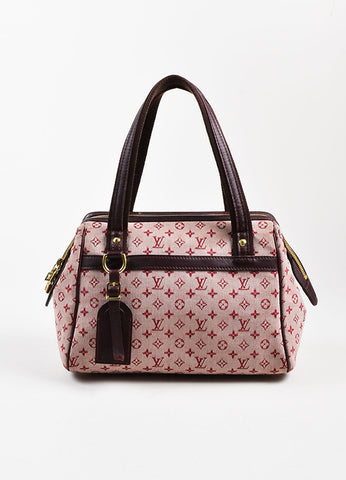 "Louis Vuitton Deep Pink and Brown Monogram Mini Lin ""Josephine PM"" Satchel Bag Frontview"