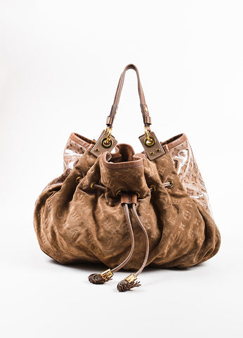 "Louis Vuitton Taupe Brown Suede Patent Vernis Leather ""Irene Coco"" Hobo Bag Frontview"