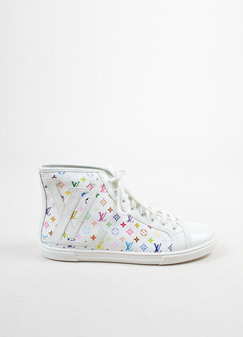White and Multicolor Louis Vuitton Canvas and Leather Monogram Sneakers Sideview