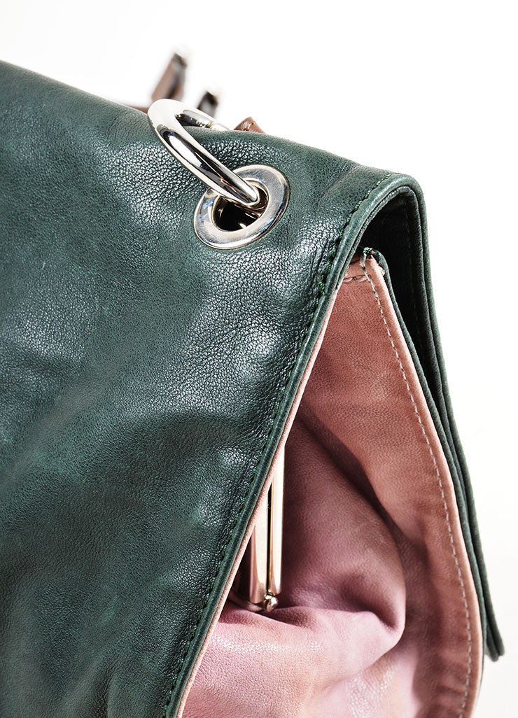 Dark Green, Mauve, and Brown Marni Leather Satchel Shoulder Bag Detail 2