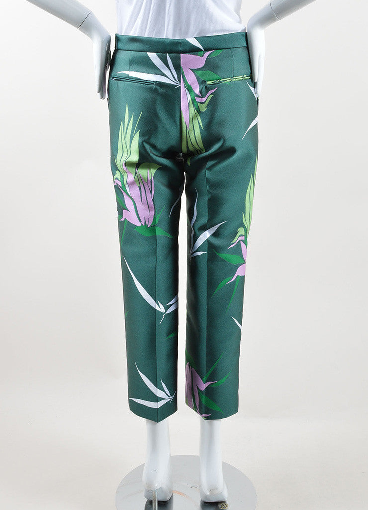 Marni Green and Multicolor Floral Silk Jacquard Ankle Pants Backview
