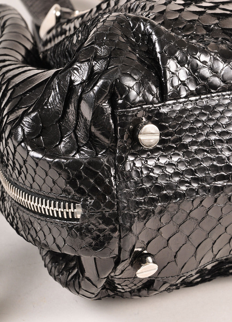 Michael Kors Collection Black Snakeskin Handbag Detail