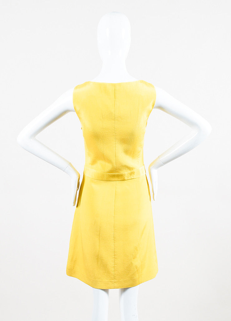 Yellow Moschino Cheap and Chic Cotton Blend Pleated Sleeveless Dress Back