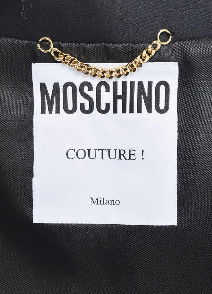 Black Moschino Couture Multicolor Charm Logo Lady Jacket Brand