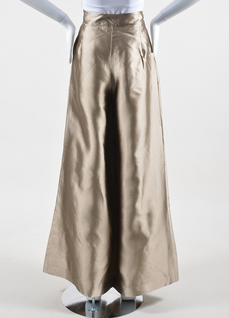 Oscar de la Renta Metallic Taupe Pleated High Waisted Wide Leg Trousers Backview
